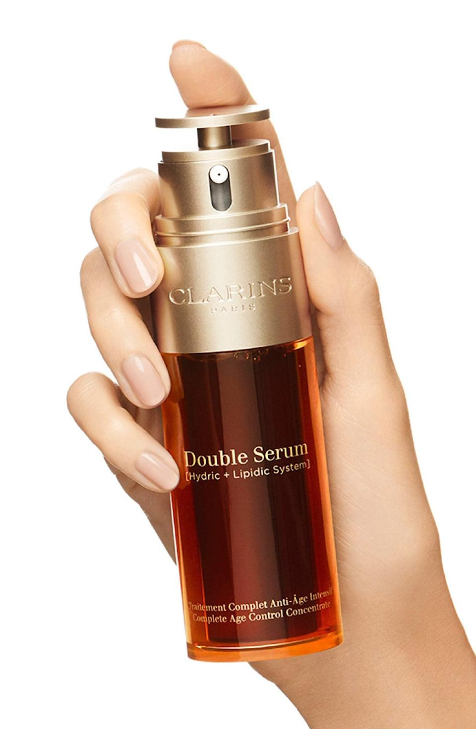 <p>The <span>Clarins Double Serum</span> ($90–$161) is a 2-in-1 formula that can do it all including, targets lines and wrinkles, even out skin tone, and boost radiance.</p>