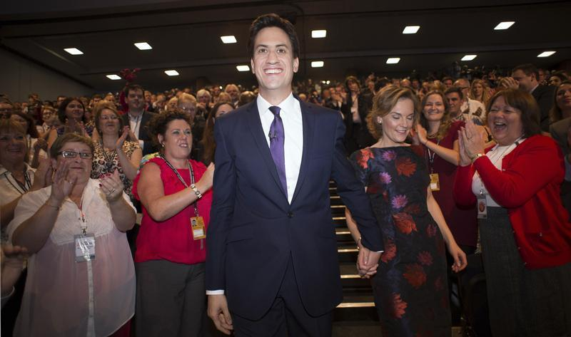 Britain's opposition Labour party leader Ed Miliband and his wife Justine Thornton leave the annual Labour party conference in Brighton, southern England