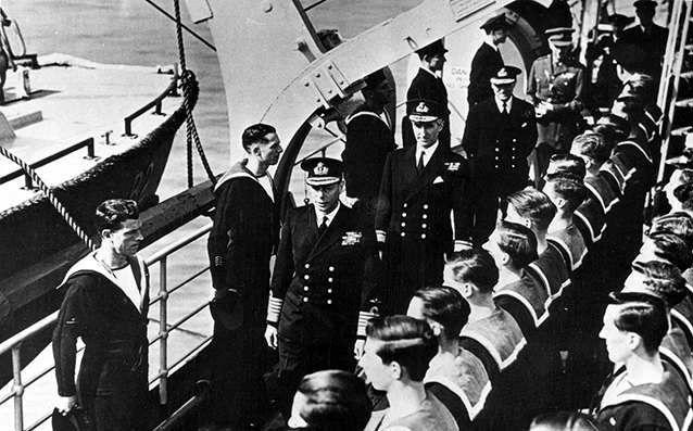 HRH King George VI, front stood on the bridge of the Bulolo and took salute from invasion ships ahead of D-Dat