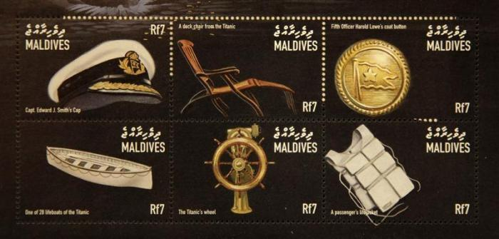 Commemorative Titanic stamps from the Maldives, part of a collection of enthusiast Kenneth Mascarenhas.