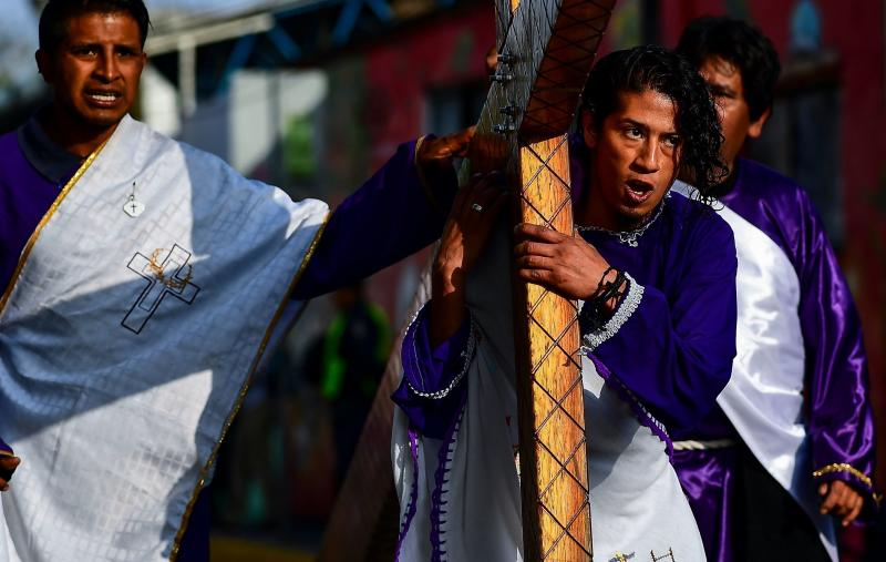 Christians recreate the Passion of Christ in the Iztapalapa neighborhood in eastern Mexico City on April 19, 2019. (RONALDO SCHEMIDT via Getty Images)