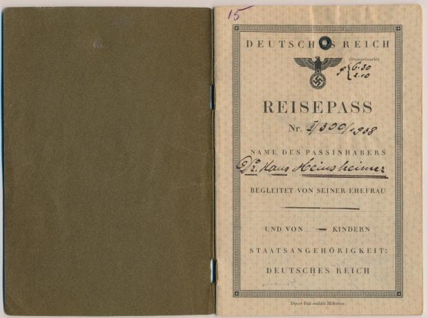 Wainwright's grandfather's German passport from the 1930s features a Nazi insignia.