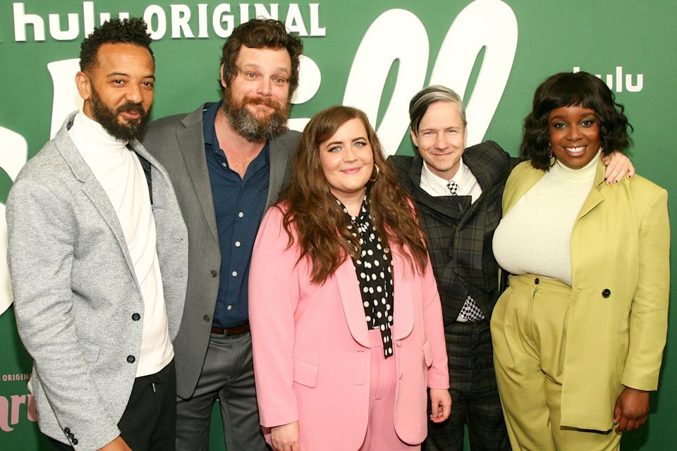 """Ian Owens, from left, Luka Jones, Aidy Bryant, John Cameron Mitchell and Lolly Adefope attends the premiere of Hulu's """"Shrill"""" at the Walter Reade Theater on Wednesday, March 13, 2019, in New York. (Photo by Andy Kropa/Invision/AP)"""