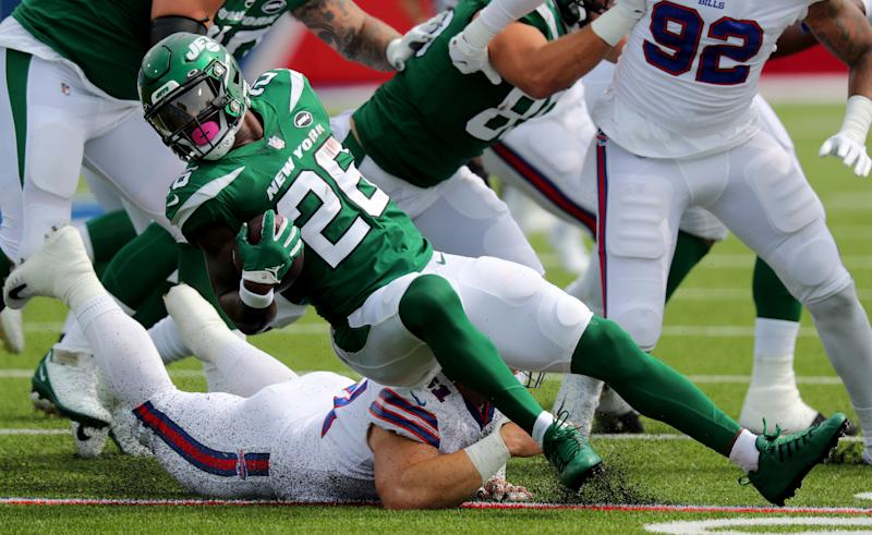 Le'Veon Bell and the Jets struggled against the Bills. (Photo by Timothy T Ludwig/Getty Images)