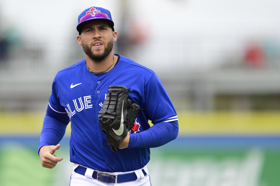 DUNEDIN, FLORIDA - MARCH 21: George Springer #4 of the Toronto Blue Jays jogs off the field during the fifth inning against the New York Yankees during a spring training game at TD Ballpark on March 21, 2021 in Dunedin, Florida. (Photo by Douglas P. DeFelice/Getty Images)