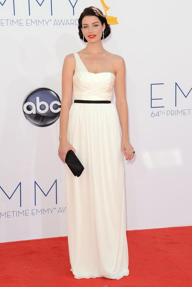 Jessica Pare arrives at the 64th Primetime Emmy Awards at the Nokia Theatre in Los Angeles on September 23, 2012.