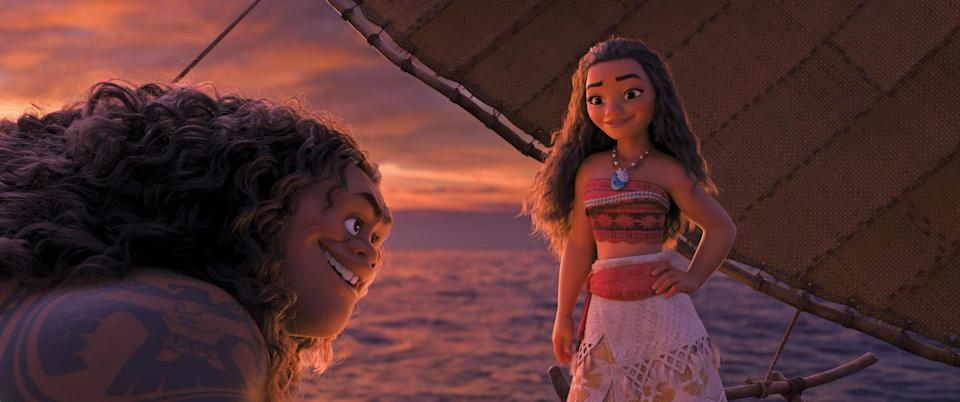 """<p><em>Moana</em> is already Disney canon. The film centers around Moana (voiced by Auli'i Cravalho), an intuitive navigator who hits the sea with a demigod named Maui (Dwayne Johnson) to find a legendary island. The perfect <a href=""""https://www.glamour.com/gallery/best-family-movies?mbid=synd_yahoo_rss"""" rel=""""nofollow noopener"""" target=""""_blank"""" data-ylk=""""slk:family-friendly movie"""" class=""""link rapid-noclick-resp"""">family-friendly movie</a> viewing experience. </p> <p><a href=""""https://www.amazon.com/Moana-Theatrical-Version-Aulii-Cravalho/dp/B01MSPICKN"""" rel=""""nofollow noopener"""" target=""""_blank"""" data-ylk=""""slk:Available for rent on Amazon Prime Video"""" class=""""link rapid-noclick-resp""""><em>Available for rent on Amazon Prime Video</em></a></p>"""