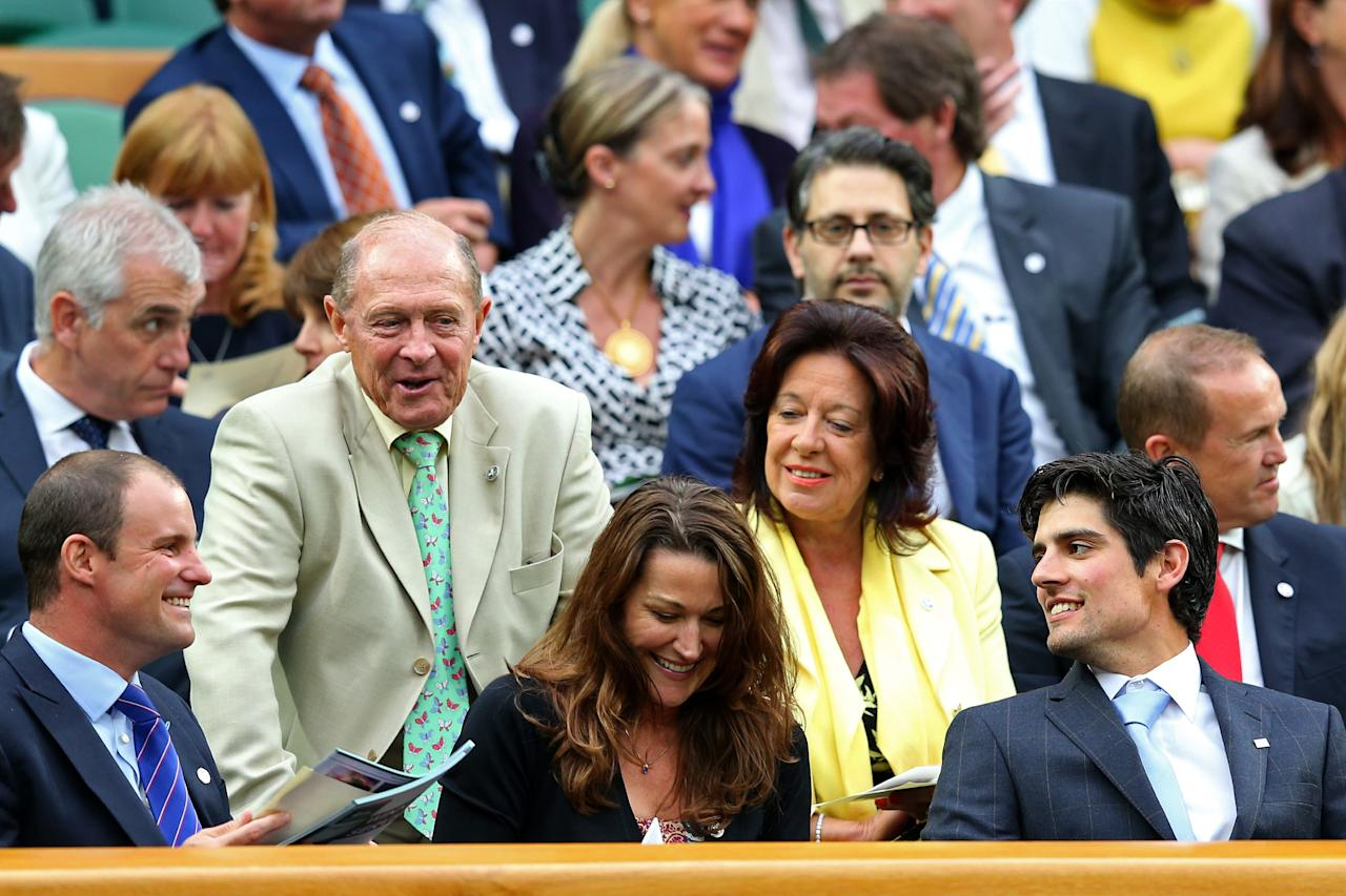 LONDON, ENGLAND - JUNE 28: (L-R) England cricketers past and present Andrew Strauss, Geoffrey Boycott and Alastair Cook take their seats in the Royal Box on Centre Court on day five of the Wimbledon Lawn Tennis Championships at the All England Lawn Tennis and Croquet Club on June 28, 2013 in London, England. (Photo by Julian Finney/Getty Images)