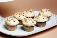 """A classic combination in an adorable little package. The cupcakes, which are reminiscent of banana bread, would be a great breakfast treat (with or without the frosting). <a href=""""https://www.epicurious.com/recipes/food/views/banana-cupcakes-with-peanut-butter-frosting-358240?mbid=synd_yahoo_rss"""" rel=""""nofollow noopener"""" target=""""_blank"""" data-ylk=""""slk:See recipe."""" class=""""link rapid-noclick-resp"""">See recipe.</a>"""