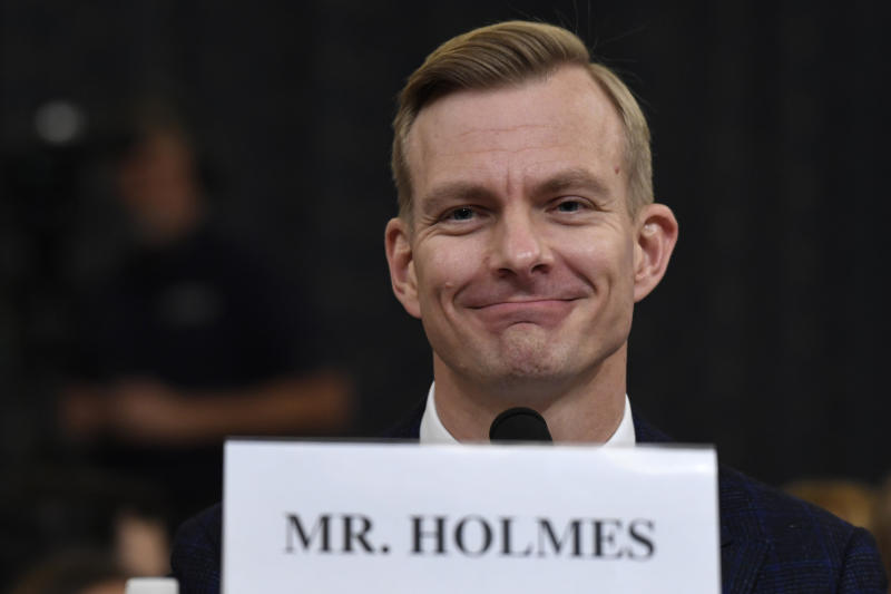 David Holmes, a U.S. diplomat in Ukraine, testifies before the House Intelligence Committee on Capitol Hill in Washington, Nov. 21, 2019. (Photo: Susan Walsh/AP)
