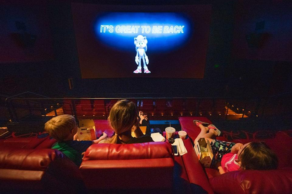 """<p>Patrons watch the """"Sonic the Hedge Hog"""" movie at the AMC Highlands Ranch 24 on August 20 in Highlands Ranch, Colorado.</p>"""