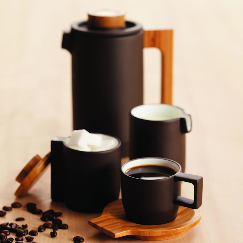"""Take their art to the next level. <a href=""""https://www.ahalife.com/product/149000057679/purple-clay-coffee-set"""" target=""""_blank"""">Shop it here</a>."""