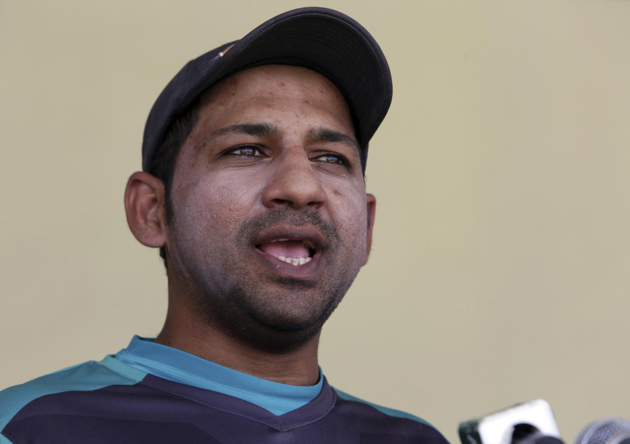 "Pakistan's skipper Sarfraz Ahmed speaks during a press conference in Lahore, Pakistan, Saturday, April 21, 2018. Ahmed believes the ""best of the best"" 16 players for the test tours of Ireland and England have been picked after former test cricketers have criticized the non-selection of middle-order batsman Fawad Alam. (AP Photo/K.M. Chaudary)"