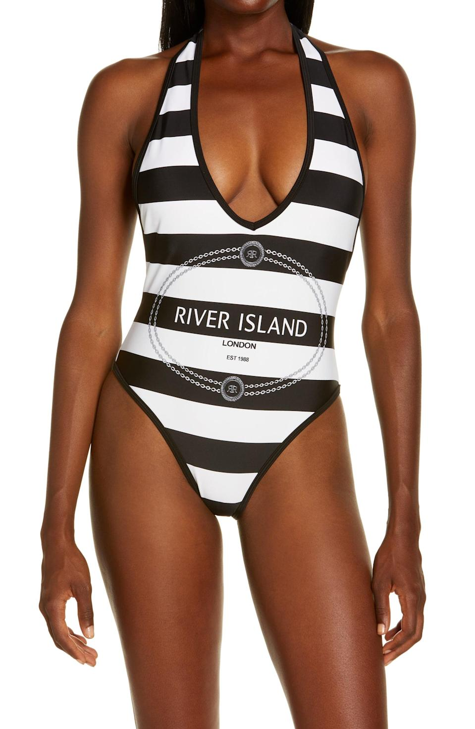<p>Go for something bold and branded like this retro <span>River Island Halter Stripe Logo One-Piece Swimsuit</span> ($55).</p>