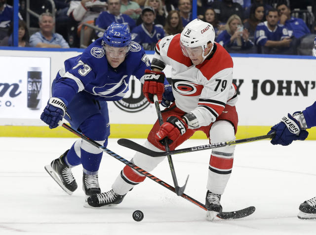 Tampa Bay Lightning left wing Adam Erne (73) knocks the puck away from Carolina Hurricanes left wing Micheal Ferland (79) during the first period of an NHL hockey game Tuesday, Oct. 16, 2018, in Tampa, Fla. (AP Photo/Chris O'Meara)