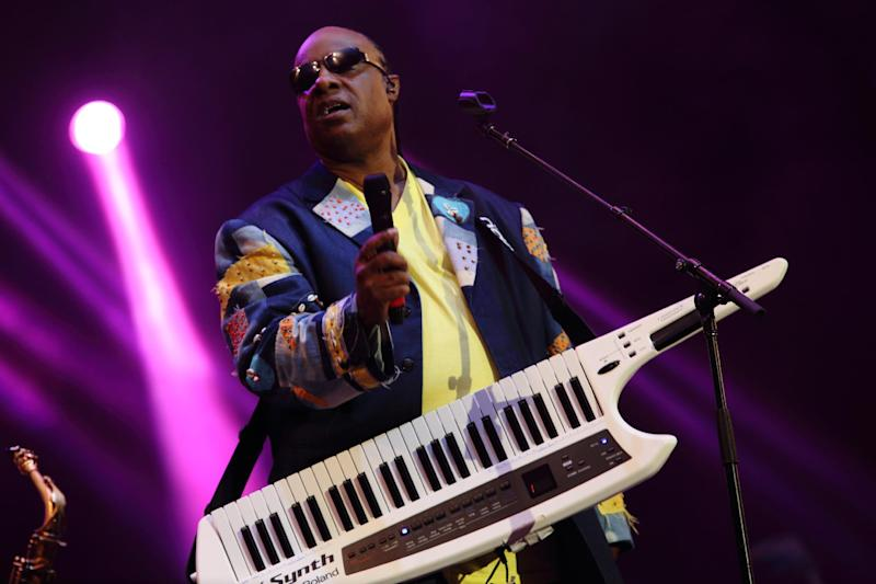 FILE - In this May 19, 2013 file photo, Stevie Wonder performs at The Hangout Festival in Gulf Shores, Ala. Wonder is participating in the second Global Citizen Festival on Sept. 28, 2013, in New York's Central Park with Kings of Leon, John Mayer and Alicia Keys. Fans earn tickets by participating in a campaign to end world poverty. (Photo by John Davisson/Invision/AP, File)