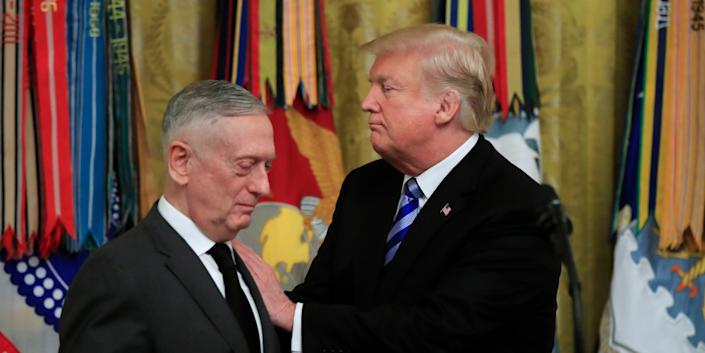 President Donald Trump acknowledges Defense Secretary Jim Mattis during a reception commemorating the 35th anniversary of the attack on Beirut Barracks in the East Room at the White House in Washington, Thursday, Oct. 25, 2018.