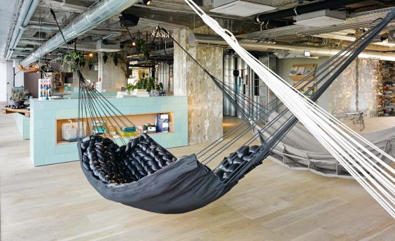 After a day of retail therapy, take a load off in the hammocks at 25hours Hotel Bikini Berlin (Stephan Lemke)