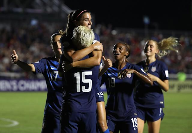 """<a class=""""link rapid-noclick-resp"""" href=""""/ncaaf/players/292082/"""" data-ylk=""""slk:Alex Morgan"""">Alex Morgan</a> celebrates one of her two goals in the United States women's national team's rout of Mexico in CONCACAF World Cup qualifying. (Getty)"""