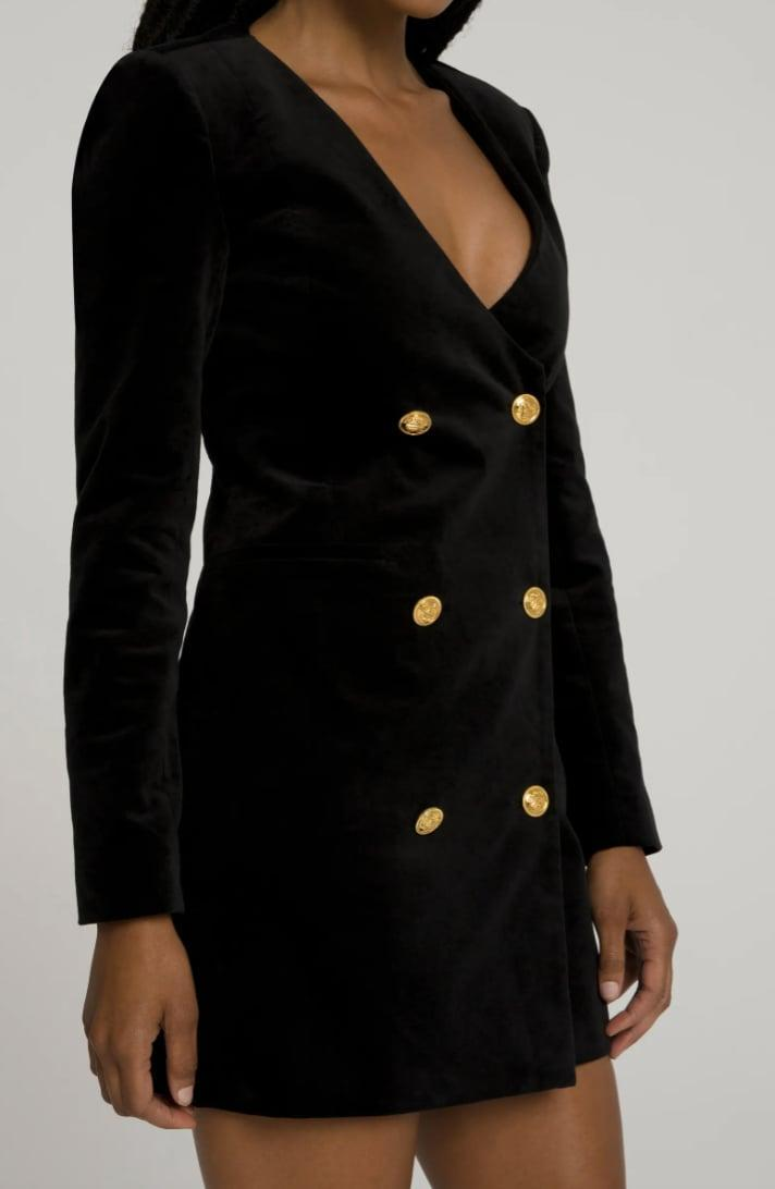<p>We love the structured silhouette and festive look of this <span>Good American Boss Blazer Long Sleeve Minidress</span> ($138, originally $229).</p>