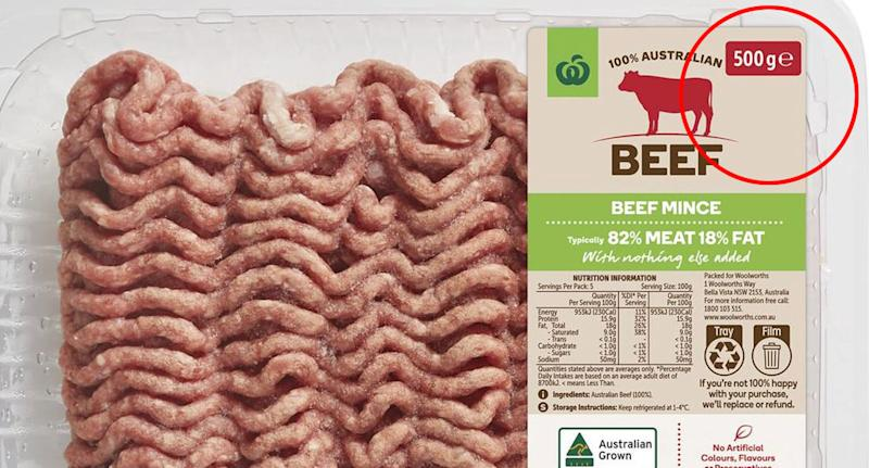 Woolworths beef mince 500g is pictured.