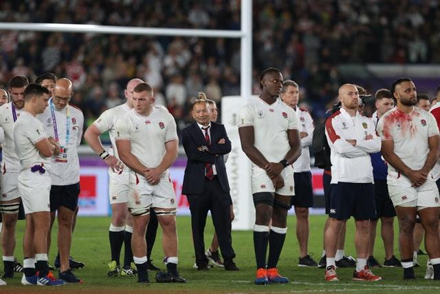 Eddie Jones, centre, fears the impact Saracens' situation could have on England (David Davies/PA)