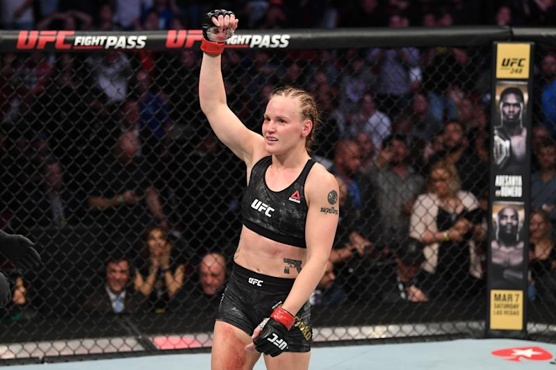 HOUSTON, TEXAS - FEBRUARY 08: Valentina Shevchenko of Kyrgyzstan celebrates her TKO victory over Katlyn Chookagian in their women's flyweight championship bout during the UFC 247 event at Toyota Center on February 08, 2020 in Houston, Texas. (Photo by Josh Hedges/Zuffa LLC via Getty Images)
