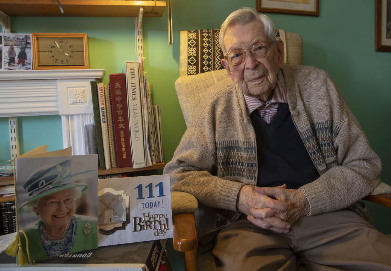 Embargoed to 0001 Friday March 29 Bob Weighton, from Alton, who turns 111 years old on Friday and is the oldest man in England.