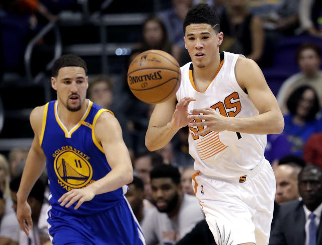 "The <a class=""link rapid-noclick-resp"" href=""/nba/teams/pho/"" data-ylk=""slk:Phoenix Suns"">Phoenix Suns</a> aren't as talented as the <a class=""link rapid-noclick-resp"" href=""/nba/teams/gsw/"" data-ylk=""slk:Golden State Warriors"">Golden State Warriors</a> but their uptempo style is something fantasy players should value. (AP Photo/Matt York)"