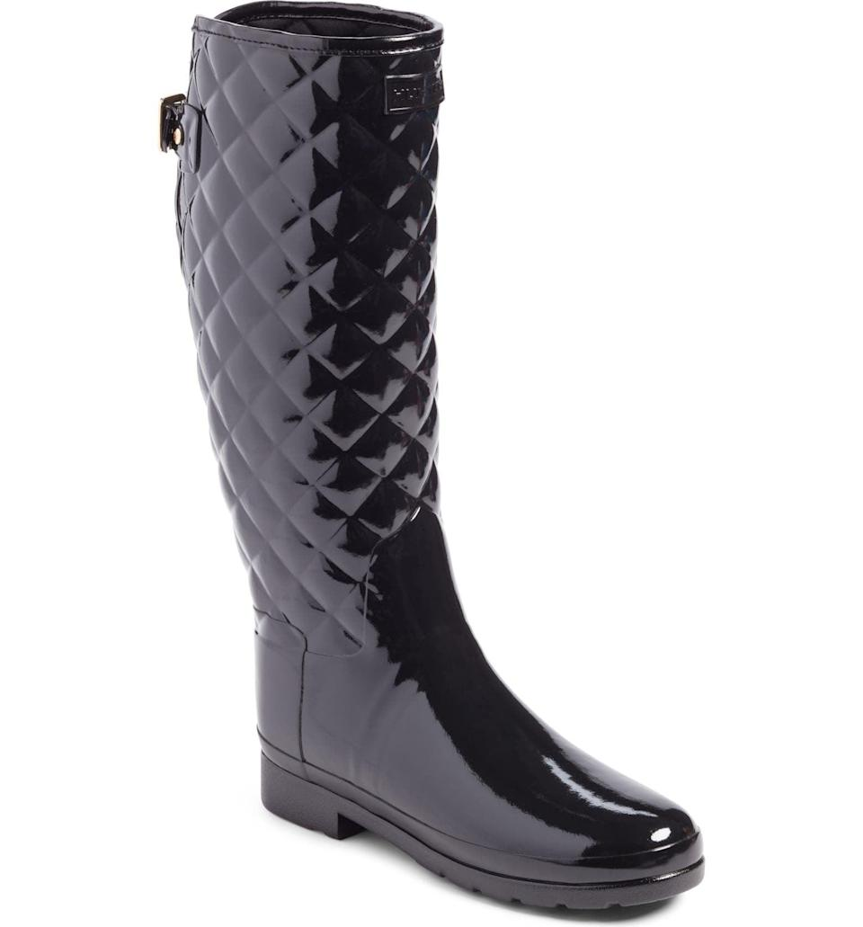 <p>Stay dry and look stylish on rainy days, thanks to these <span>Hunter Original Refined High Gloss Quilted Waterproof Rain Boots</span> ($185).</p>