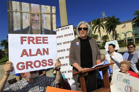Wife of Gross a U.S. contractor jailed in Cuba for crimes against the state speaks a rally for her husband's release in West Palm Beach, Florida