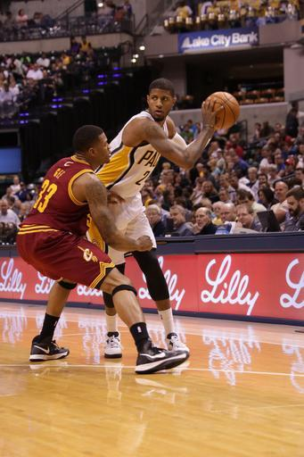 INDIANAPOLIS, IN - APRIL 8: Paul George #24 of the Indiana Pacers drives to the hoop against the Cleveland Cavaliers on April 8, 2013 at Bankers Life Fieldhouse in Indianapolis, Indiana. (Photo by Ron Hoskins/NBAE via Getty Images)