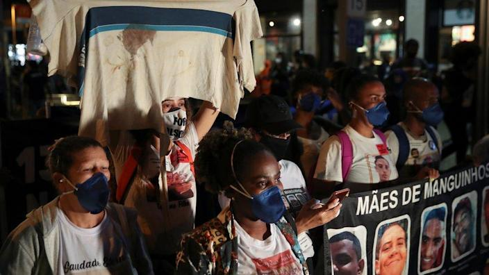 Black movement activists protest against racism and police violence in Rio de Janeiro