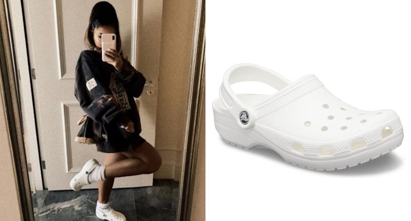 Ariana Grande shares mirror selfie of herself sporting Crocs and socks.