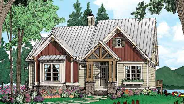 "<p>Make your dreams of a mountain retreat come true with this adorable little cabin that'd feel right at home among the craggy peaks and evergreens. At just 1,500 square feet, the home packs plenty of character into its multi-surface exterior, with board and batten accents, a stone foundation, and wooden pillars framing inviting French doors. A very welcome home indeed.</p> <p>3 bedrooms/ 3 baths</p> <p>1,510 square feet</p> <p><strong>See plan:</strong> <a href=""http://houseplans.southernliving.com/plans/SL1552"" rel=""nofollow noopener"" target=""_blank"" data-ylk=""slk:Allegheny"" class=""link rapid-noclick-resp"">Allegheny</a></p>"