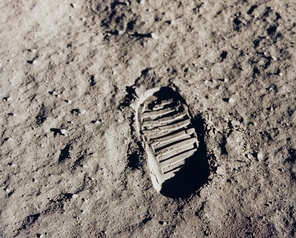 One of the first steps taken on the Moon, this is an image of Buzz Aldrin's bootprint from the Apollo 11 mission. Neil Armstrong and Buzz Aldrin walked on the Moon on July 20, 1969.  (Photo: NASA)