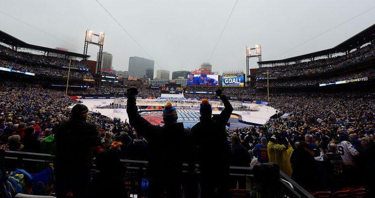 <p><em>Fans celebrate after the St. Louis Blues score a goal against the Chicago Blackhawks during the 2017 Bridgestone NHL Winter Classic at Busch Stadium on January 2, 2017 in St. Louis, Missouri (Photo by Jeff Curry/NHLI via Getty Images)</em></p>