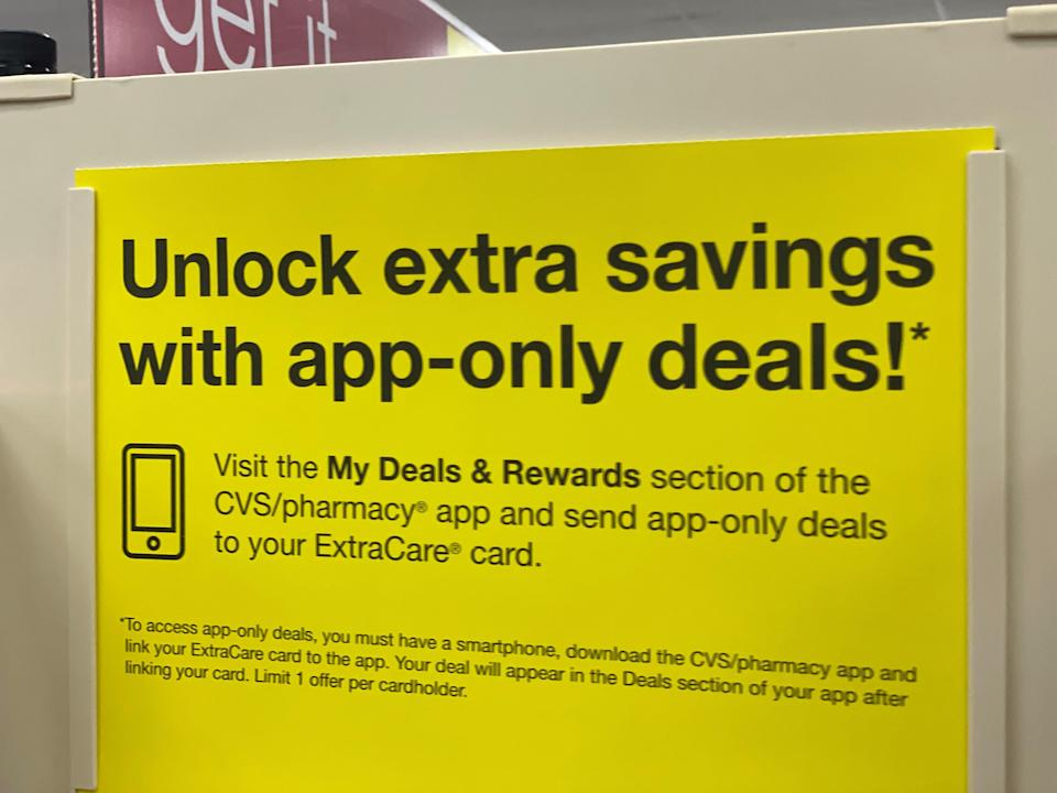 CVS has app-only deals as part of its ExtraCare program.