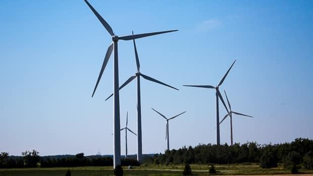 Ontario wind turbines spin in this file photo from 2016. Gains in green jobs in Ontario and Quebec last year helped drive growth in environmental employment, according to a new report. (David Donnelly/CBC - image credit)