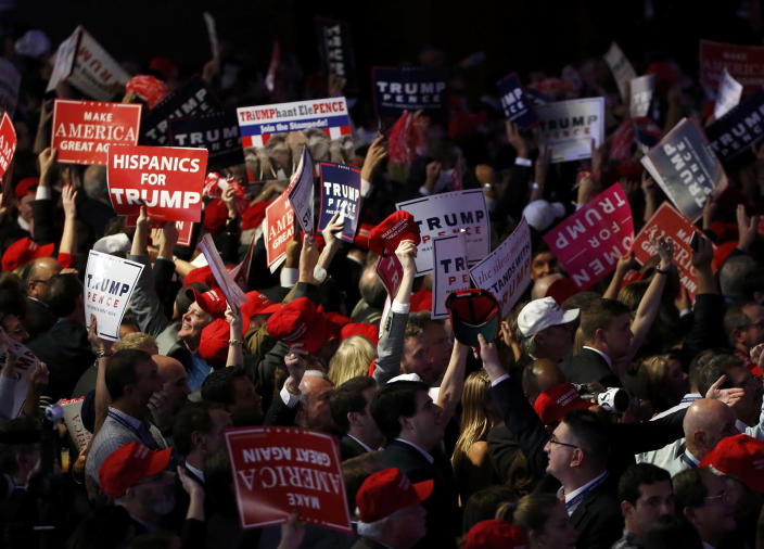 <p>Trump supporters celebrate as election returns come in at Republican U.S. presidential nominee Donald Trump's election night rally in Manhattan, New York, Nov. 8, 2016. (Photo: Jonathan Ernst/Reuters) </p>