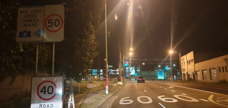 A photo showing three different speed signs in O'Riordan Street in Sydney's inner-city. Source: Reddit.