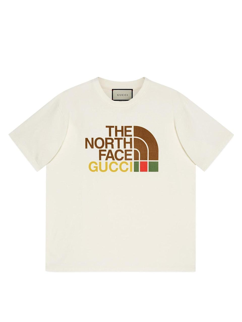 The North Face x Gucci 聯名短版 T-Shirt NT$19,500。(Gucci提供)