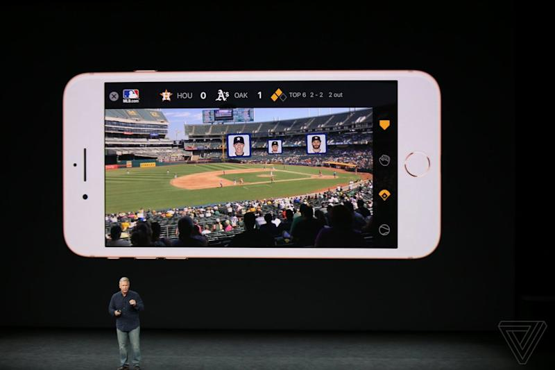 Apple shows off augmented reality feature from MLB Advanced Media. (Apple)
