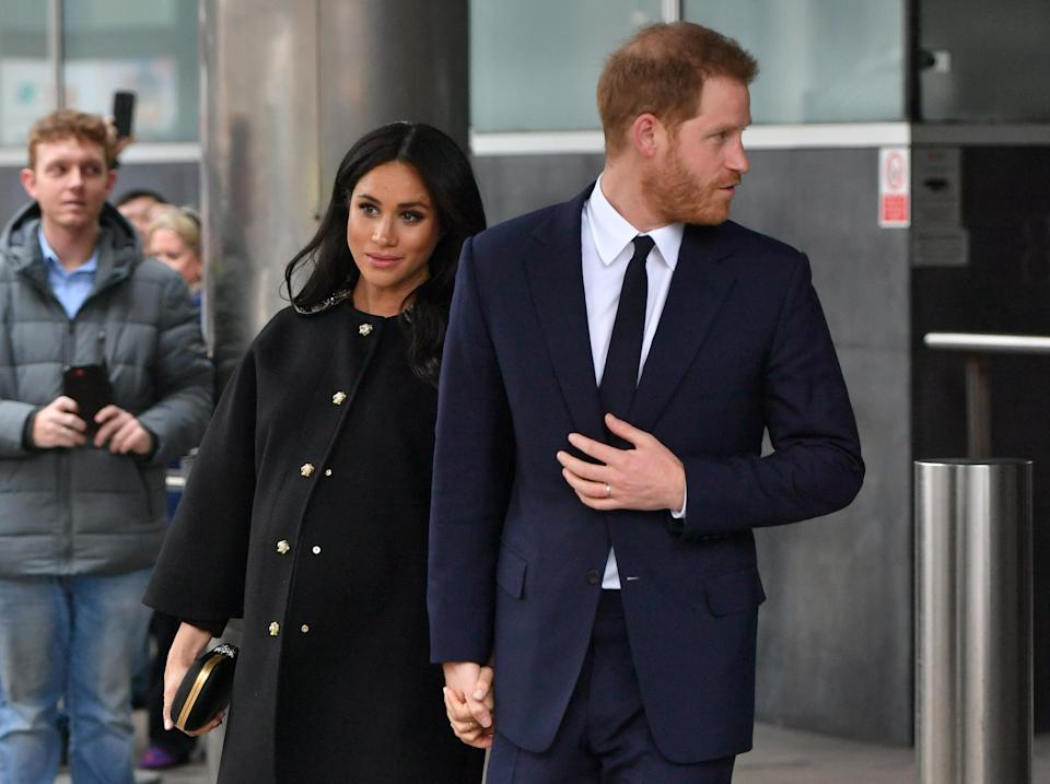 Meghan and Harry leaving New Zealand House in London, where they signed the book of condolence for the victims of the Christchurch terror attack [Photo: PA]