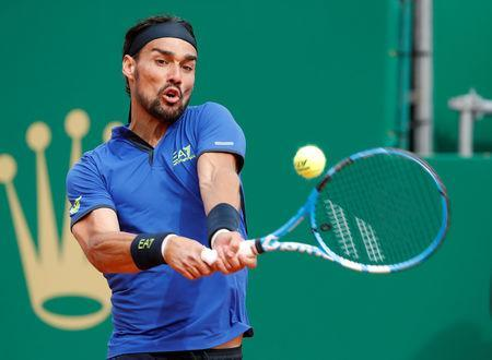 Tennis - ATP 1000 - Monte Carlo Masters - Monte-Carlo Country Club, Roquebrune-Cap-Martin, France - April 20, 2019 Italy's Fabio Fognini in action during his semi final match against Spain's Rafael Nadal REUTERS/Eric Gaillard