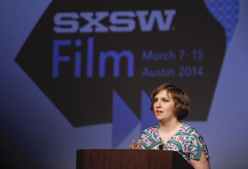 Lena Dunham gives a keynote during the SXSW Film Festival on Monday, March 10, 2014, in Austin, Texas. (Photo by Jack Plunkett/Invision/AP)