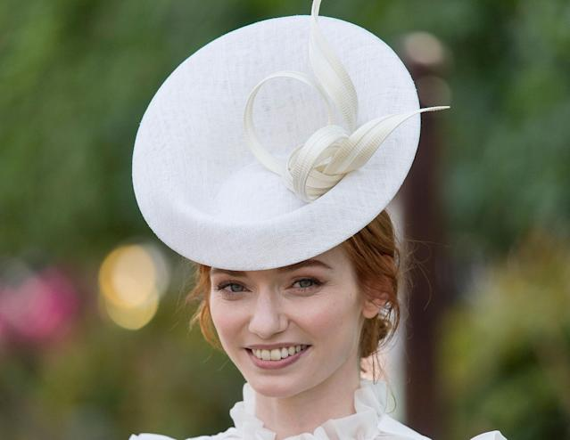 <p>Eleanor Tomlinson attends Royal Ascot 2017 at Ascot Racecourse on June 21, 2017 in Ascot, England. (Mark Cuthbert/UK Press via Getty Images) </p>