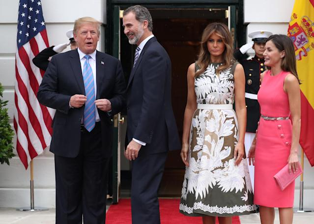 "President and Melania Trump are spending time with  <span class=""s2"">King Felipe VI and Queen Letizia at the White House. </span>(Photo: Reuters/Jonathan Ernst)"