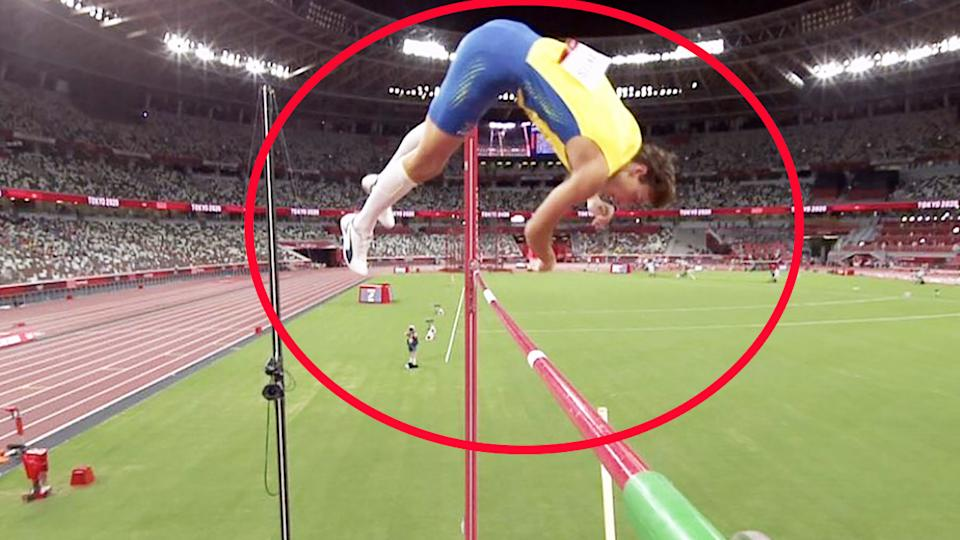 Mondo Duplantis, pictured here clearing the bar by an absurd margin on his gold medal-winning jump.