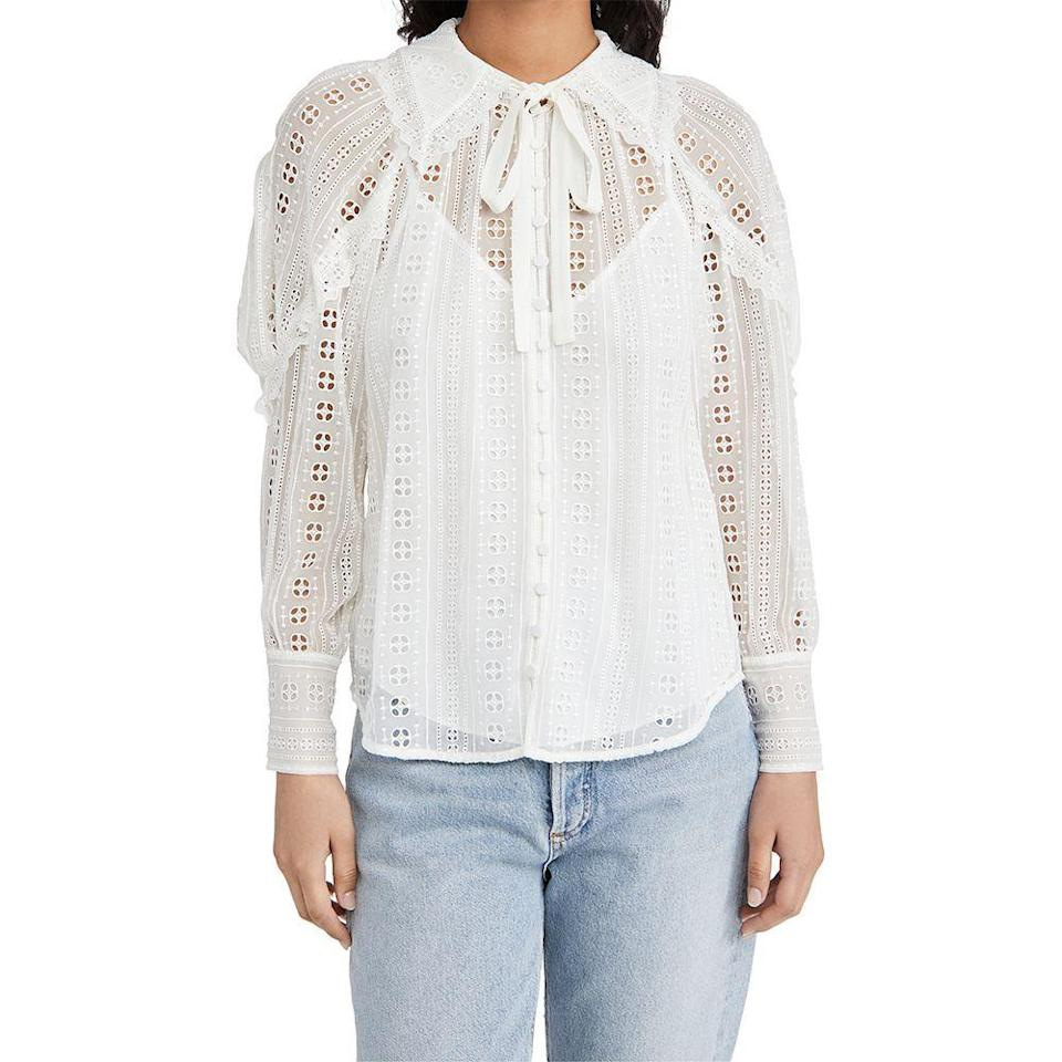 """<p><strong>Rebecca Taylor </strong></p><p>shopbop.com</p><p><a href=""""https://go.redirectingat.com?id=74968X1596630&url=https%3A%2F%2Fwww.shopbop.com%2Flong-sleeve-geo-eyelet-blouse%2Fvp%2Fv%3D1%2F1541056000.htm&sref=https%3A%2F%2Fwww.elle.com%2Ffashion%2Fshopping%2Fg36080635%2Fshopbop-spring-sale%2F"""" rel=""""nofollow noopener"""" target=""""_blank"""" data-ylk=""""slk:Shop Now"""" class=""""link rapid-noclick-resp"""">Shop Now</a></p><p><strong><del>$385</del> $327 (15% off)</strong></p><p>Rebecca Taylor's SS21 line was inspired by the patterns of vintage napkins found in London's Portobello Market. The intricate details on this blouse from the collection make it worthy of occasions where you want to wear something that feels special. </p>"""